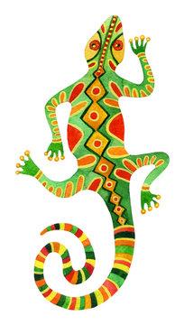 Watercolor green lizard