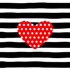 red heart on striped  pattern vector, black and white