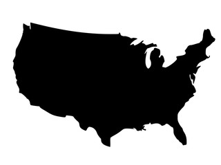 Black silhouette map of United States of America
