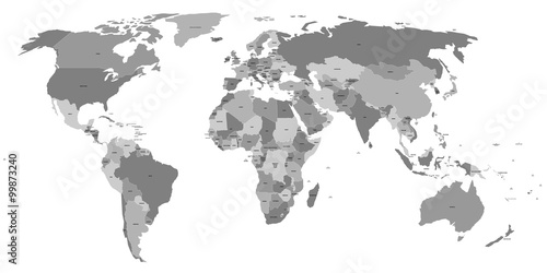 Vector World Map With Country Labels Stock Image And Royaltyfree - World map with country labels