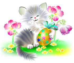 Small kitten holding an Easter egg, vector cartoon image.