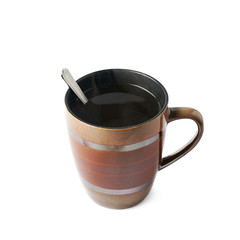 Hot beverage in a mug isolated