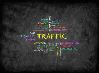 Traffic concept on chalkboard