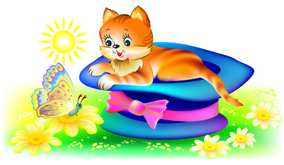 Cat looking at butterfly, vector cartoon image.