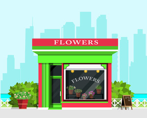 Modern landscape with flower shop icon, fence, flowers and bushes. Flat style vector illustration