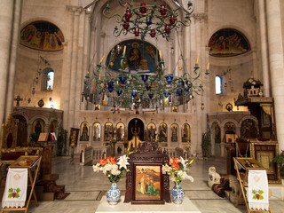 Sychar, Israel, July 11, 2015.: The interior of the church in Sy