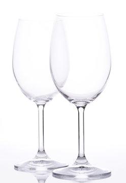 2 empty wine glasses