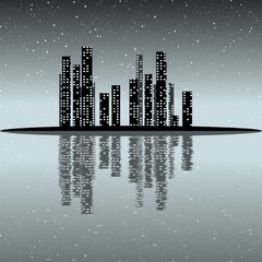 Night city are reflected in a murky lake /  Illustration / Civilization and environmental protection on Earth