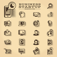 Business and Startup engraved icons set