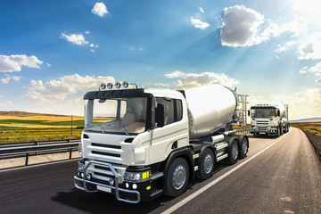 Concrete mixer trucks on the road