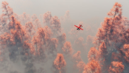 Single engine airplane over autumn pines in the mist.
