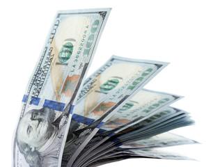Packed dollars money isolated on white background