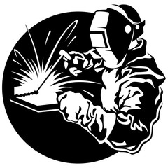 Welder working in the mask in the weld metal sparks vector illus