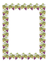 Color vertical frame with grapes