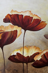 Vertical painting canvas of poppies
