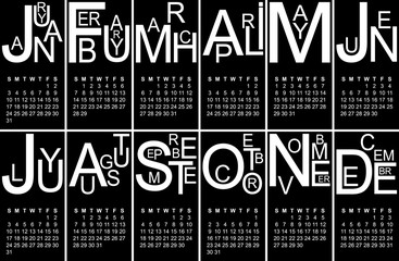 Black and white jazzy 2016 calendar, vector, eps 10