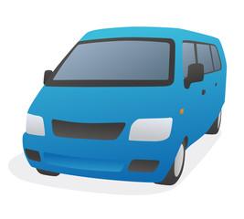 blue van, wagon, front view, vector illustration