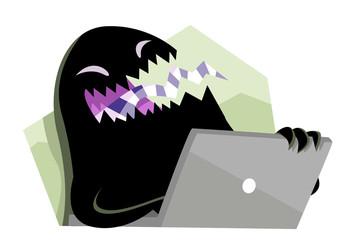 troll monstruo negro con computadora