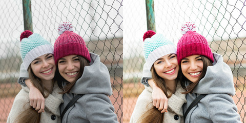 Two teenage girls with beanies, with and without filter comparison