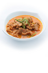 Red curry with pork and coconut milk (Panaeng), Thai food