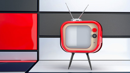 retro tv set in abstract interior
