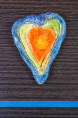 Valentine heart made of salt dough and ribbon, symbol of love