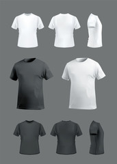T-shirt mockup set, front, side, back and perspective view. Vector eps10 illustration