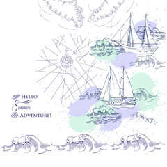 Background with ships and waves.Hand drawn sea, waves and yachts. Vector  Illustration