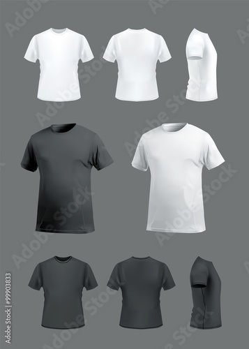 T shirt mockup set front side back and perspective for T shirt mockup vector free