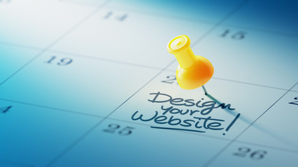 Obraz Concept image of a Calendar with a yellow push pin. Closeup shot - fototapety do salonu