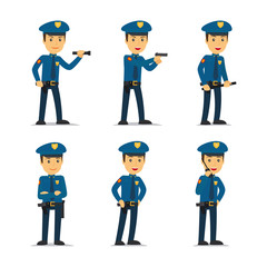 Police officer character in different poses. Vector illustration.