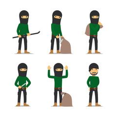 Criminal man. Burglar and thief, robber and bandit vector character.