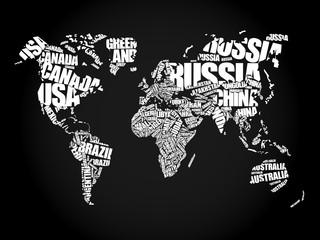 Obraz Mapa świata w koncepcji nazwy krajów - fototapety do salonu