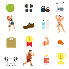 fitness sport and health colorful flat design icons set. vector illustration.