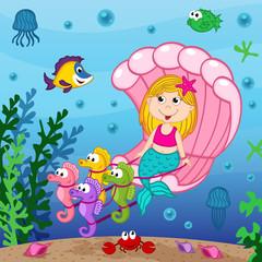 mermaid swims in the seashell - vector illustration, eps