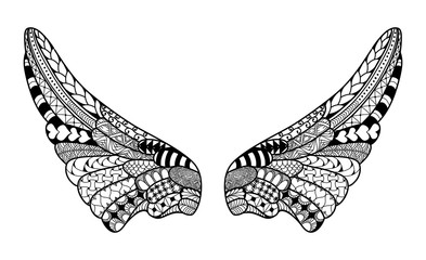 Angel wings, highly detailed illustration in zentangle style