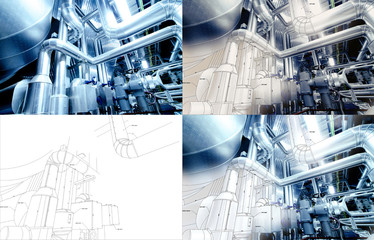 Design collage concept with blueprints and pipelines at factory