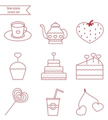 Vector line style icons. Icon set, red color