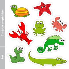 Amphibian set colorful.
