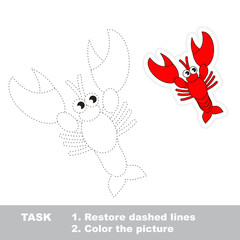 Lobster to be traced. Vector trace game.
