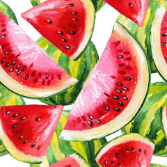 Watercolor painting with watermelon