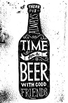 Beer bottle with type design