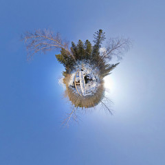 Bridge over the river in the winter woods. Spherical Panorama 360. Little planet