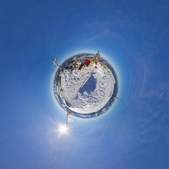 Hikers on the top of the mountain. Spherical Panorama 360, little planet