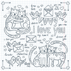 Valentine's day doodles set with cute animals