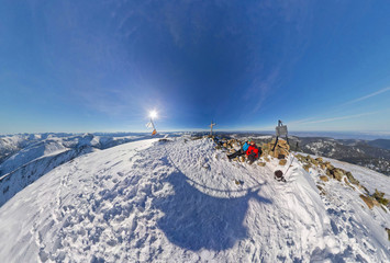Hikers on the top of the mountain. Spherical Panorama 360