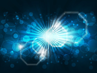 Abstract vector background with lights and glowing octagons shape.