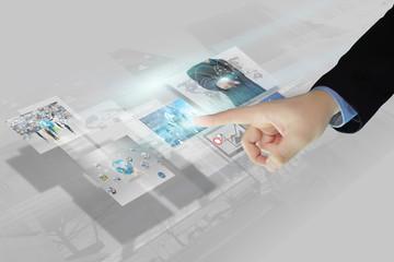 Businessman press virtual screen.business concept,technology