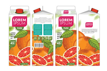 Template Packaging Design Grapefruit Juice