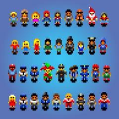 set of small pixel art people avatars